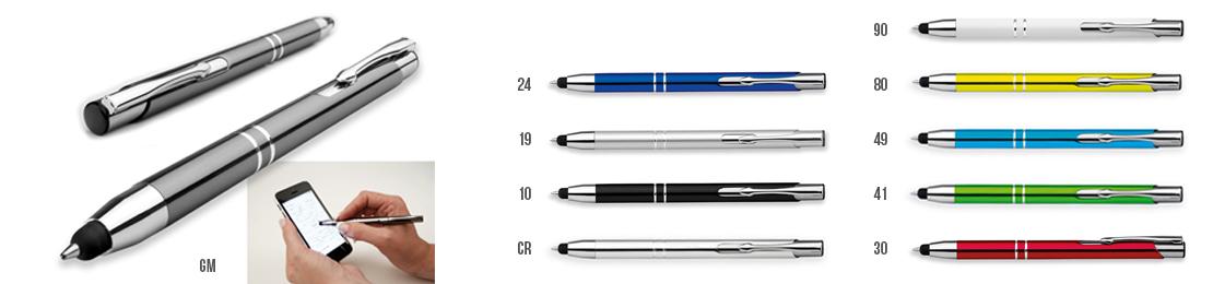 kovová reklamní propiska s funkcí touch pen, vhodná pro laserový popis