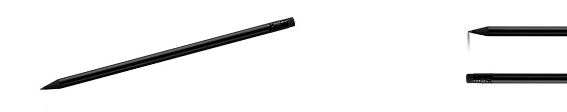celá černá tužka s gumou, matná černá