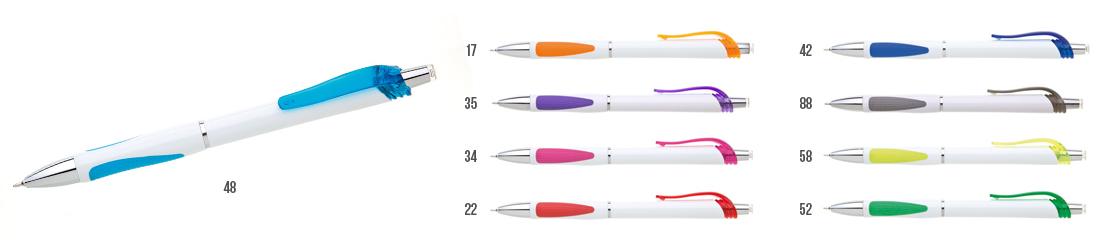 bílá plastová propiska s barevnými doplňky, miktrohrot, velmi tenký hrot