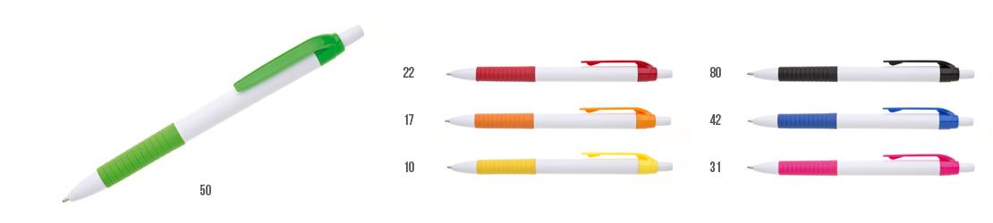 bílá reklamní propiska s barevnými doplňky WIGU